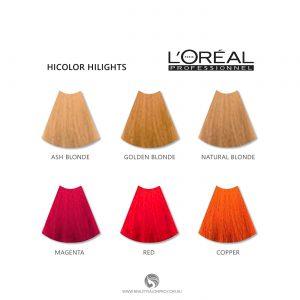 L'Oreal HiColor HiLights Colour Chart