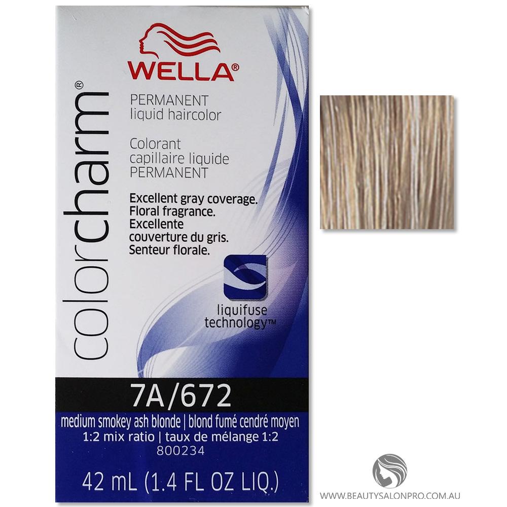 Wella Color Charm Permanent Liquid Hair Color 7a 672 Medium Smokey Ash Blonde